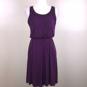 LOFT Purple Sleeveless Blouson Knit Summer Dress